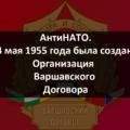 14 мая 1955 года была создана Организация Варшавского Договора